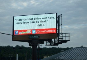 Drive out Hate billboard